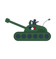cartoon olive military army large tank isolated on vector image