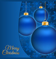 Christmas balls and blue snowflake background vector image vector image