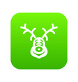 christmas deer icon digital green vector image