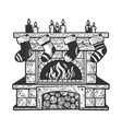 christmas fireplace sketch vector image