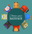 colored school backpacks set choose your backpack vector image vector image