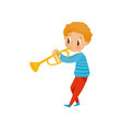 cute boy playing trumpet little musician vector image