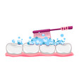 cute tooth with toothbrush and toothpaste vector image