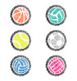fingerprint outline sport balls color vector image vector image