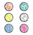 fingerprint outline sport balls color vector image