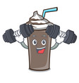 fitness ice chocolate character cartoon vector image vector image