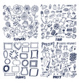 food frames flowers party set of cute sketches vector image