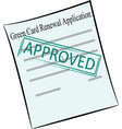 green card renewal application on the stamp vector image vector image