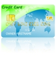 Green credit card with shadow over wite background vector image