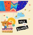 happy cartoon animals flying to school air vector image vector image
