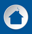 house with chimney - blue icon on white button vector image