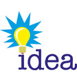 idea word with light bulb concept vector image