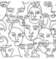 line art seamless pattern with female portraits vector image vector image