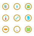 measure tool icons set cartoon style vector image vector image