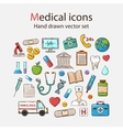 Medical doddle icon set vector image
