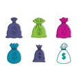 money bag icon set color outline style vector image vector image