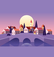 old cityscape stone bridge sunset old town vector image vector image