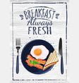 poster with plates fried and scrambled eggs on vector image vector image