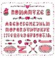 Romantic AlphabetHeart FontABC Lettersdecor vector image