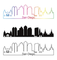 San Diego skyline linear style with rainbow vector image vector image