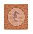Seahorse fish woodcut button vintage vector image