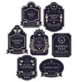 set labels in black and silver colors vector image