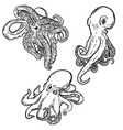 set of octopus isolated on white background vector image