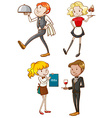 Simple sketches of the waiters and waitresses vector image vector image