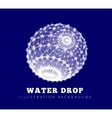 Spherical drop of water on a blue background vector image