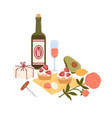 still life with bottle wine and picnic food vector image vector image