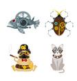 stylized metal steampunk mechanic robots animals vector image
