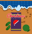 towel with santa hat and a present bag vector image