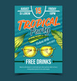 tropical tree leaves and sunglasses banner vector image vector image