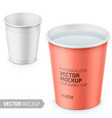 white matte disposable cup template vector image vector image