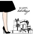 women in black dress happy holidays girl vector image
