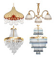 a set chandelier lamps fixtures with crystal vector image