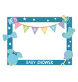 baby shower card with square frame and accessories