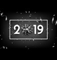 black 2019 happy new year card with grey bow and vector image vector image