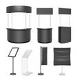 black exhibition stand mockup set isolated vector image