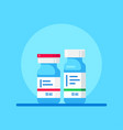 bottles vaccine on blue background flat style vector image vector image