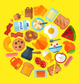 breakfast round round pattern vector image