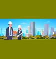 business man and woman construction worker over vector image