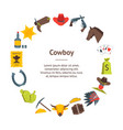 cartoon cowboy banner card circle vector image vector image