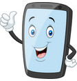 cartoon mobile phone mascot giving a thumbs up vector image vector image