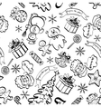 Christmas seamless pattern contour vector image