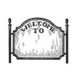 city welcome road sign engraving vector image