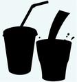 closed cup with a straw and a splash cola vector image