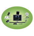 computer with hands and hat vector image vector image