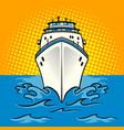 cruise ship pop art style vector image vector image