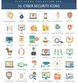 Cyber security flat icon set Elegant style vector image vector image